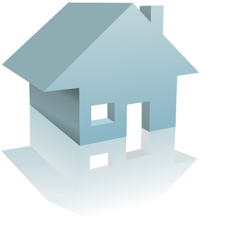 clipart chimney: Home - a simple clean illustration or icon of a Residential House with reflection.