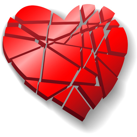 A heartbroken shattered red Valentine heart symbol of love broken to pieces. Illustration