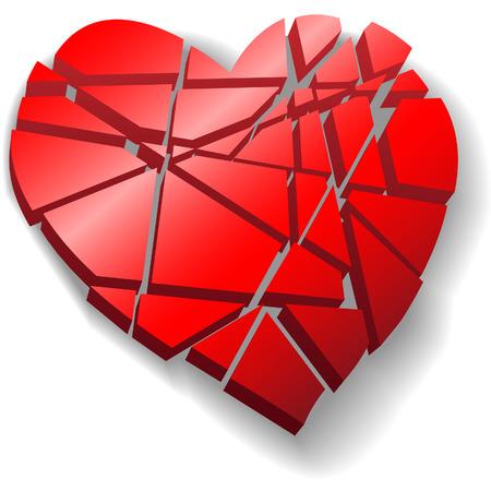Un cuore infranto cuore rosso Valentino simbolo d'amore rotto a pezzi. Archivio Fotografico - 4660394