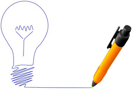doodling: A ball point pen drawing or writing a bright idea light bulb in blue ink on white copyspace.