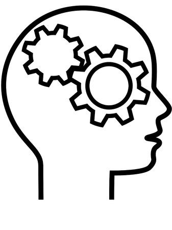 Een nijvere machine minded Gear hoofd Denker in profiel, een uitvinder of vernieuwer of probleem oplosser.