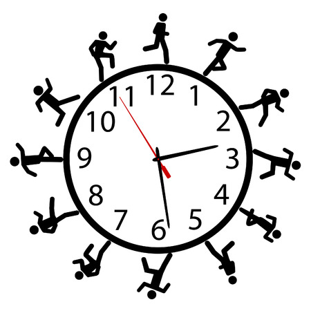 A symbol person or people in a hurry run a work day race around the clock or timeclock.