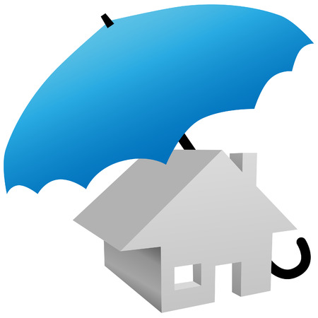 security symbol: House protected by safety home insurance umbrellaA 3D house protected by a blue umbrella symbol of home insurance, security system, or other home protection.
