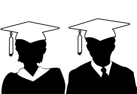 toga y birrete: Paire de la silueta de hombres y mujeres graduados en la tapa y vestido. Vectores