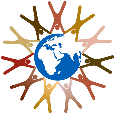 Diverse group of symbol people hold hands in a ring around planet earth.