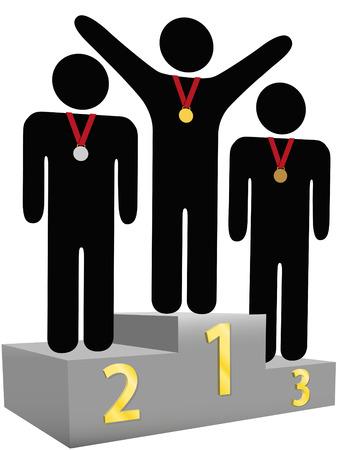 Mensen krijgen goud zilver bronzen medailles op drie tier gunning podium platforms voor de eerste seconde de derde plaats. Vector Illustratie