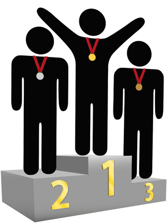 People get gold silver bronze medals on three tier award podium platforms for first second third place. Stock Vector - 4689948