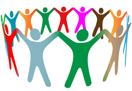 diverse: Gradient blend of diverse group of symbol people of many colors hold their hands up in a ring.