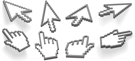 Computer interface hand cursor and arrow cursor in different 3D angle variations, 2 float, 2 with drop shadows. Vector