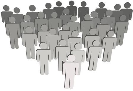poblacion: L�der en el frente de un equipo de grupo de empresa o corporaci�n congregaci�n poblaci�n 3D s�mbolo de personas aisladas en blanco.