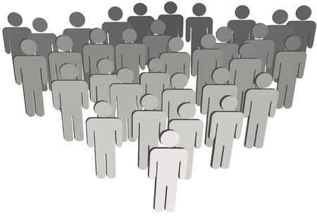 Leader at front of a team group company congregation corporation or population of 3D symbol people isolated on white. Vector