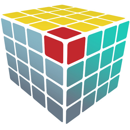 A three sided cube puzzle box in 3D with solution on white. Vector