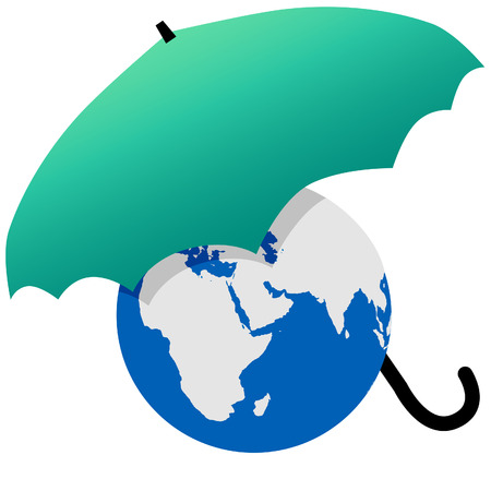 Earth protected by a green umbrella symbol environmental threat and protection. 向量圖像