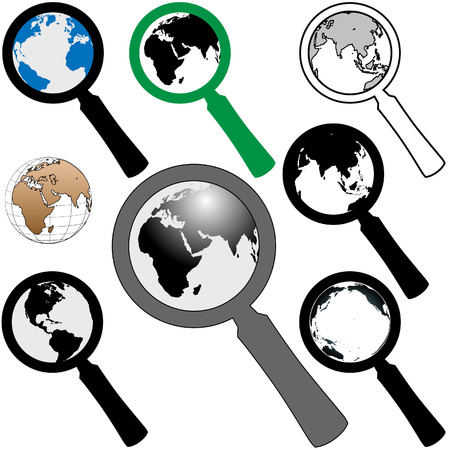 icon vector: A set of magnifying glass icons to search the earth to find a web page.