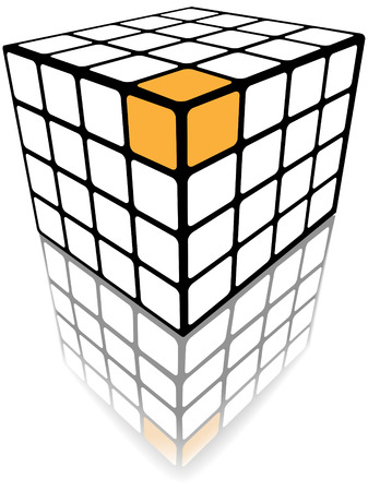 A three sided cube puzzle box in 3D with gold solution on white with reflection. Vector