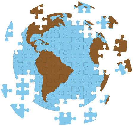 A 'real' jigsaw puzzle. In the vector version, the individual puzzle pieces are on layers, to be moved and arranged individually.