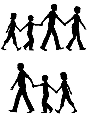 children silhouettes: On the Go a mom or dad leads family on walk shopping home or anywhere you want them to head.