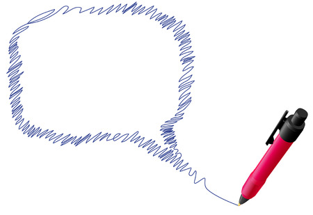 A red ball point pen drawing speech bubble copyspace in blue ink. Stock Vector - 5030786