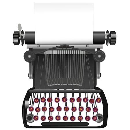 m�quina de escribir vieja: Escriba su copia en el copyspace papel en esta �poca, la m�quina de escribir antigua ilustraci�n de fondo.