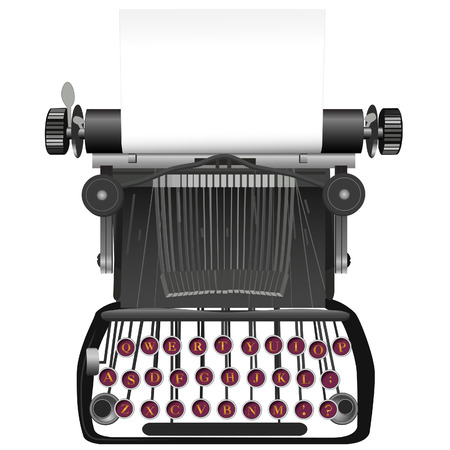 typewriting machine: Type your copy on the copyspace paper in this vintage, antique typewriter illustration background.