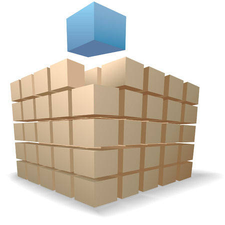 An abstract blue cube rises up from stacks of puzzle boxes or cartons on a shadow on white.