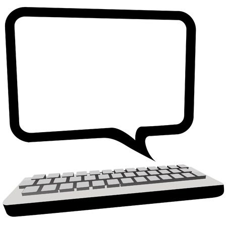 pc: Type blog, email or other text in this speech bubble copyspace as a computer monitor above a keyboard.