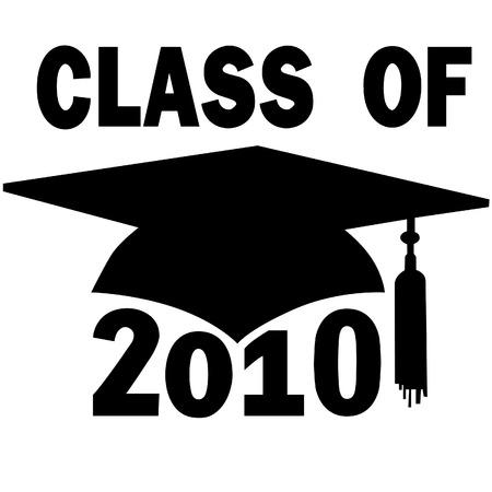 モルタル板とタッセル、大学や高校 2010年のクラスの卒業の帽子。  イラスト・ベクター素材
