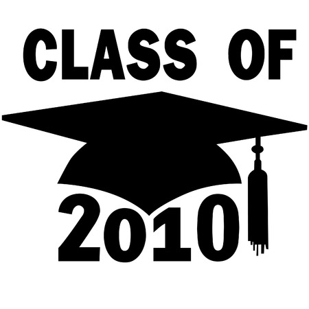high hat: A mortar board and tassel Graduation Cap for a College or High School Class of 2010.