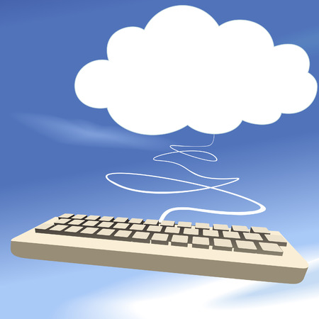 Cloud computing keyboard on blue sky background as a speech bubble copyspace.