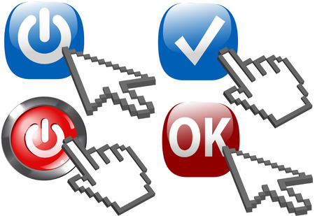 Cursor arrow and hand click on Power ON buttons and check mark OK symbols. Vector