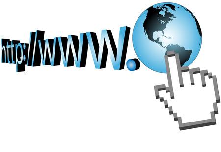 A 3D hand cursor clicks on earth URL on the world wide web.