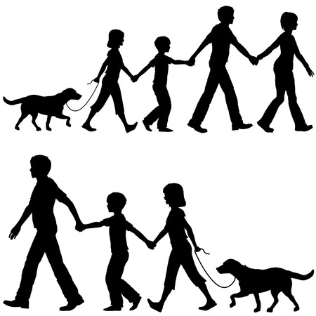 children silhouettes: On the Go mom or dad leads family kids and dog on walk shopping home or wherever. Illustration