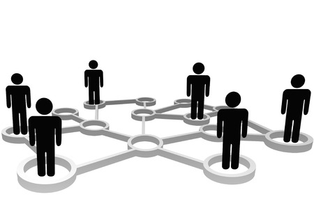 nodes: Connected Symbol People associate in 3D Social or Business Community Network Nodes.