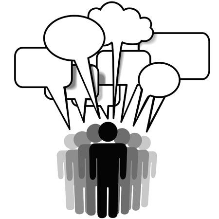 그룹 말하기 - 소셜 네트워크 미디어 사람들이 함께 통신 연설 거품 이야기. 일러스트