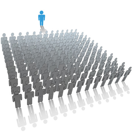 Communication leader or speaker talks in front of a large audience group of people. Vector