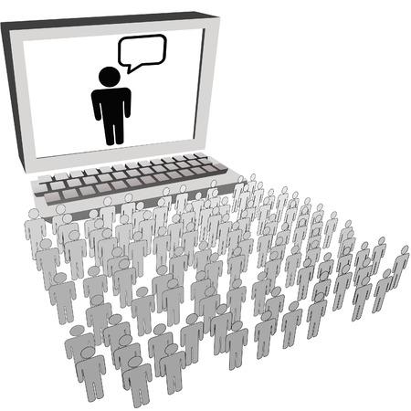 conversaciones: Equipo de comunicaci�n RSS blog o twitter l�der orador habla con una gran red social de personas de audiencia.