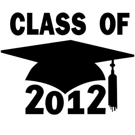 mortero: Una junta de mortero y las agujas del casquillo de la graduaci�n de un colegio o High School Class of 2012. Vectores