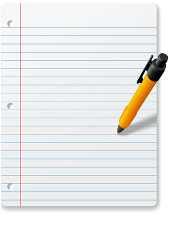 A yellow ball point pen writing or drawing on a background page of ruled notebook paper copyspace.