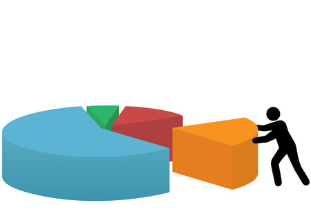market share: A business person pushes a last piece into place to make a market share pie chart of success.