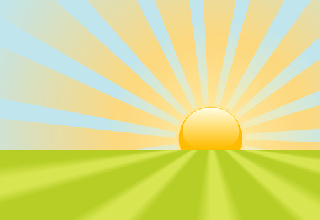 subir: A bright yellow evening sunset or dawn sunrise shines rays on a green grass scene.
