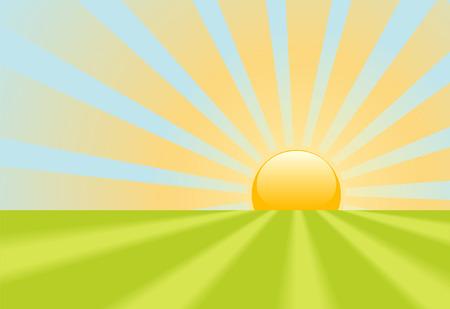 Een helder gele avond zonsondergang of zonsopgang zonsopgang schijnt stralen op een groen gras scène. Stock Illustratie