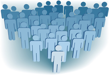 Leader at front of a team group company congregation corporation or population of 3D symbol people.