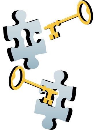 A gold or brass key to find a solution to a lock as a jigsaw puzzle piece. Vector