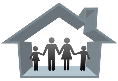 A traditional family mom dad boy girl safe at home in their 3D house. Vector