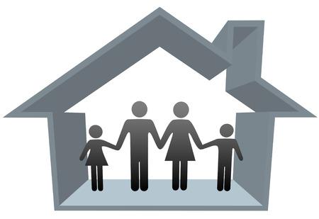 Een traditionele familie moeder Papa jongen meisje veilig thuis in hun 3D huis.