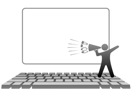 A symbol person blogger with a megaphone BLOGS on a PC computer keyboard in front of monitor copyspace. Vector