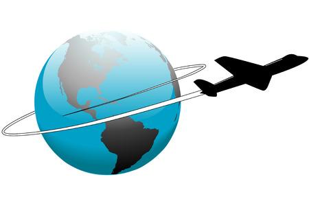 An airline passenger jet airplane travels around the world.