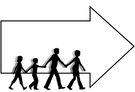 leaders: On the go mom leads dad family kids who walk to follow a copyspace arrow which leads to a sale or other event. Illustration