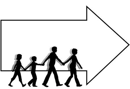 follow the leader: Onderweg moeder leidt vader familie kinderen die lopen naar een copyspace pijl volgen die leidt tot een verkoop of andere gebeurtenis.