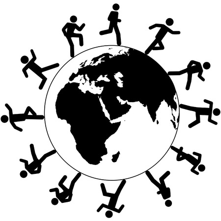 Globe trotting international people on global business run around the world on business, travel or other pursuit. Vector